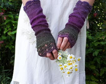 Long Fingerless Gloves Extra Long Knitted Mittens Winter Arm Warmers Purple Crochet Gloves Womens Wrist Warmer Purple Green Knit Gloves Gift