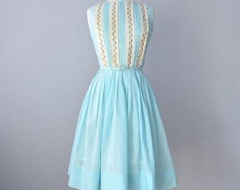 1960s Day Dress...L'AIGLON Semi Sheer Robins Egg Blue Day Dress 26 Inch Waist
