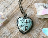 Turquoise Heart Necklace, Gobi Desert Lavender Necklace, Sterling Silver Heart Pendant... L'Amour...