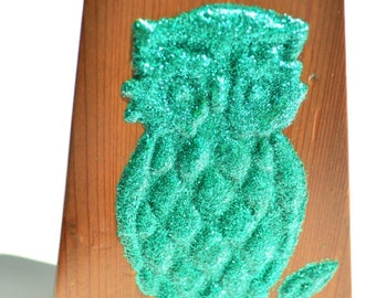 Upcycled Vintage Wood Owl Bookend Green Glitter Sparkle Unique Gift Office Home Decor Hold Books with Style