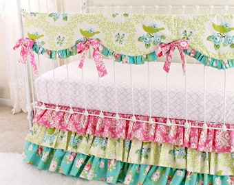 Floral Crib Bedding SALE! | Pink and Teal Roses baby girl bedding |Shabby Chic nursery bedding | Ruffle Crib Set | 30% SALE Ready to Ship |