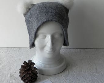 Felt hat with ears felted gray merino wool coat ears original warm woman winter accessory ready to send GREAT GIFT idea