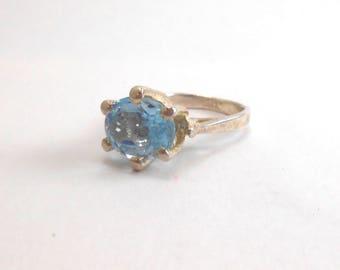Aquarmarine Genuine Recycled Light Blue Gemstone Sterling Silver Ring March Birthstone