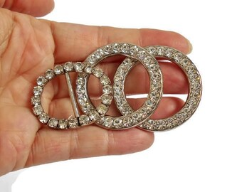 Rhinestone Buckles Scarf Rings Craft Supply Jewelry Making Embellishments Silver Metal Circles Set of 3 with Clear Stones