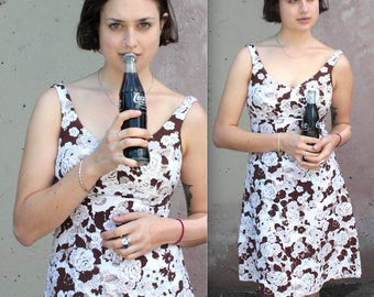 Vintage 1960s Dress // 60s 70s White and Brown Floral Print Halter Dress // Summer Sun Dress with Built in Bra