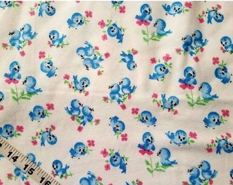 Baby Flannel fabric with birds bluebird cotton print quilting sewing material to sew crafting project quilter bird fabric BTY by the yard