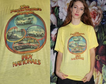 Rare 70s Vintage Yellow The performance People Indy Nationals 76' Car Racing Graphic Paper Thin Ringer T Shirt - 70s Clothing - WV0435