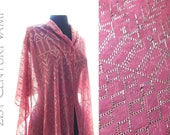 1920s Pink and Silver Assuit Shawl. Flapper. Art Deco. Jazz Age. Egyptian Revival. Tribal Fusion Bellydance. Tulle Bi Telli.