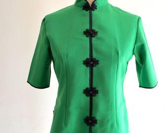 Green Cheongsam Kimono Shanghai Tang Chinese Japanese Sleeve Vest Tunic Blouse Shirt Jacket