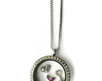 Floating charm locket necklace for maid of honor, stainless steel twist top stone locket, keepsake maid of honor gift, you choose charms