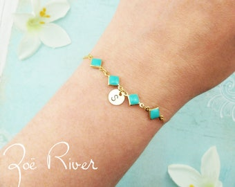 Personalized turquoise, gold, initial geometric bracelet. Turquoise green bracelet. Boho bracelet. Bohemian bracelet. Personalized bracelet