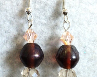 Dangle Earrings, Traditional Earrings, Brown and Beige, Glass and Crystal, Traditional Jewelry, Gift For Her - WEATHERED TIMBER