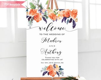 Printable Orange Purple Green Floral Welcome Sign, Editable Rustic Wedding Sign PDF Template, 24x36 18x24 Poster DIY Instant Download #03