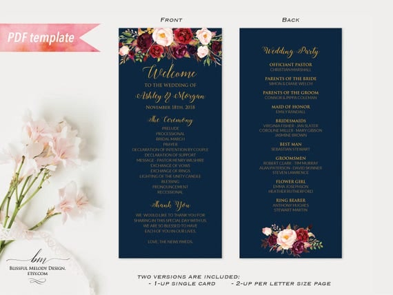 Printable Burgundy Floral Navy Blue Gold Double Sided Long Wedding - Floral wedding program templates