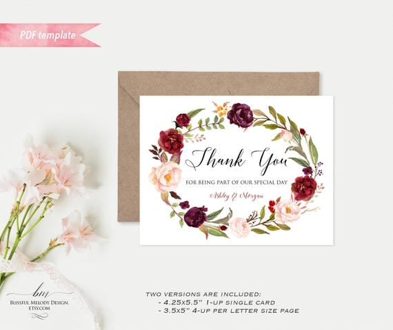 Printable burgundy floral thank you card editable pdf template il570xn m4hsunfo