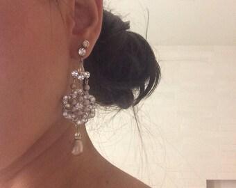 champagne swarovski pearl Bridal Earrings Chandelier Earrings Statement rhinestone earrings Pearl Bridal Earrings wedding earrings AMELIA