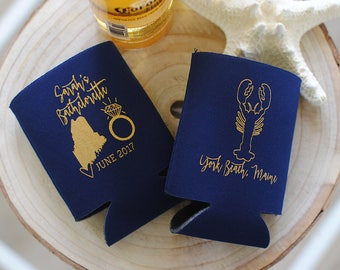 Bachelorette Party Favors - Maine Bachelorette Personalized Can Coolers, Beer Insulators, Stubby Holders - Any City and State Available