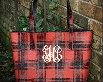 Monogram Buffalo Plaid Tote Bag - Personalized Buffalo Plaid Purse
