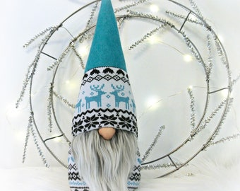 Turquoise Nordic Gnome, Tomte, Nisse, Gnome, Scandinavian Gnome