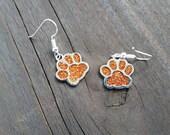 Orange Glitter Paw Print Enamel Charm Earrings Wildcats Bears Cubs School Spirit mascot Dog Cat Foot tween teens college high school jewelry