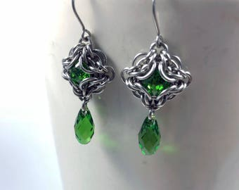 Elizabeth Earrings Surgical Stainless Steel with Swarovski Crystal Fern Green Chainmaille