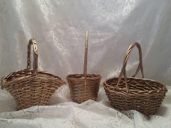 Flower Girl Basket - Gold Wicker Basket - Wedding Basket - Fan Style Basket