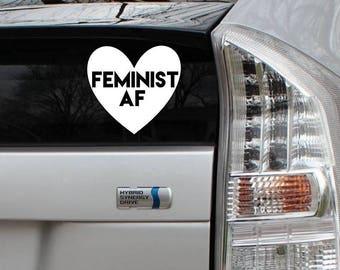 Feminist AF Heart Decal Rub-On Vinyl Die Cut Bumper Sticker Car Laptop Bike