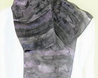 Hand painted silk scarf grey purple blue and leaf imprint 8x54 design