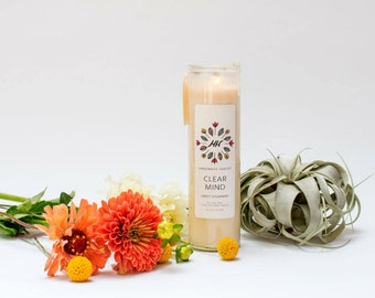 CLEAR MIND Mantra Candle - Sweet Spearmint - 16 oz - all natural, eco-friendly 100% soy wax candle