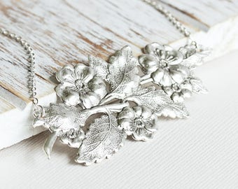 Wild Rose Necklace, Antiqued Silver Plated Flower Necklace, Silver Vine Necklace, Large Pendant, Floral Nature Jewelry