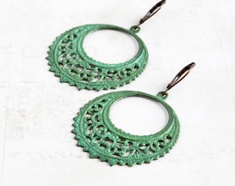 Green Patina Earrings, Filigree Hoop Earrings, Green Earrings with Antiqued Copper Plated Hooks, Large Earrings, Boho Jewelry