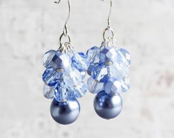 Cornflower Blue Beaded Cluster Earrings on Silver Plated Hooks