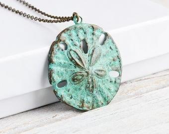 Blue Sand Dollar Necklace, Aqua Patina Brass Necklace, Large Pendant, Patina Jewelry, Beach Lover Gift