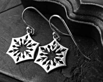 Cut Out Silver Snowflake Earrings - Snowflake Earrings - Elegant Snowflake Earrings - Snowflake Dangle Earrings - Snowflake Seasonal Jewelry