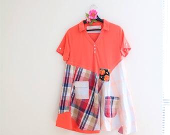 burnt orange plus size dress, upcycled clothing, patchwork dress, Tshirt dress Heart applique Rustic clothes Artsy clothing Shabby boho chic