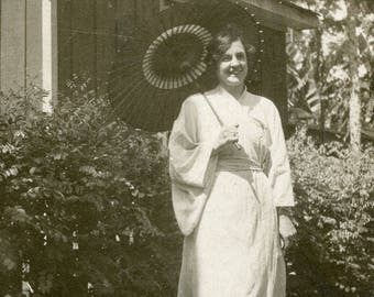 Young Woman in JAPANESE KIMONO With PARASOL Standing in Garden Photo Postcard circa 1910s