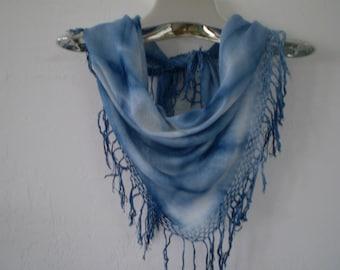 Indigo Blue Tie Dyed Fringed Rayon Scarf-34.00-Triangle soft drape