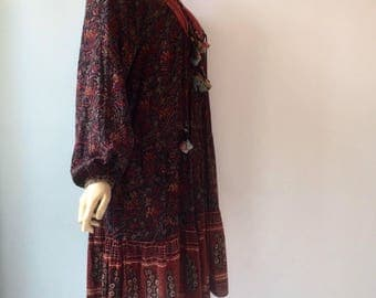 Vintage 1970s Phool Indian cotton blockprint midi dress with balloon sleeves and tassels
