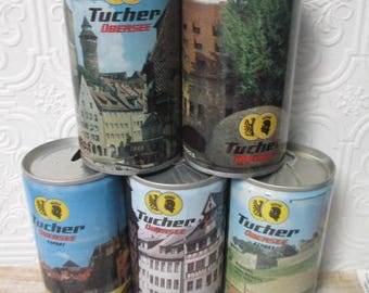 TUCHER UBERSEE EXPORT Assorted Cans lot of 5 Vintage Steel Pull Tab