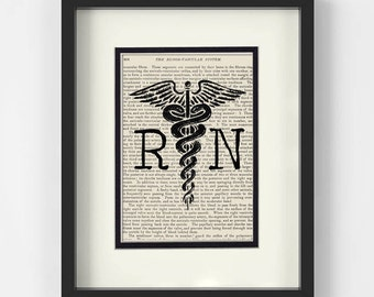 Nursing Graduation Gift - RN over Vintage Medical Book Page - Graduation Gift for Nurse, Nurse Graduation, Nurse Graduation Gift, Nurse Gift