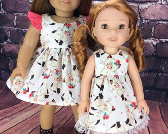 14.5 inch doll clothes dress fits Wellie Wishers doll clothes kitty dress Matching 18 inch size available to make a sister set.