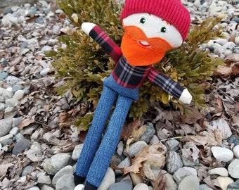 Lumberjack; Monty Python;beard;doll;boy doll;plaid;up-cycled;geek