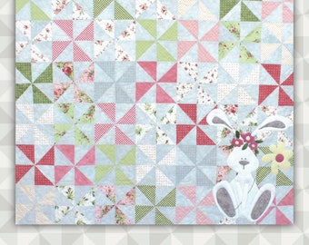 Instant Download: Waiting On Spring- an easy pinwheel pieced and appliqué quilt pattern.  A spring wall hanging. Pinwheel Quilt Pattern