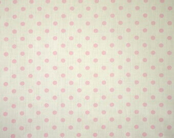 1/2 YARD, COTTON PRINT, Baby Pink Polka Dots on White, Quilting or Craft Fabric, B21