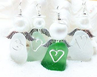 Sea Glass Angel - Beach Glass Angel -  Guardian Angel - Sympathy Gift - Angel Wings - Sea Glass Ornament - Gift For Teacher