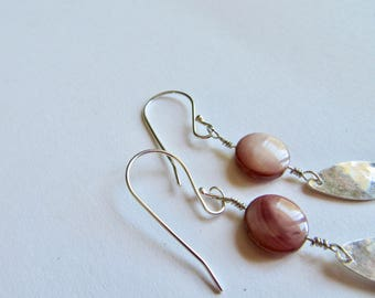 Bead Earrings with Hand Hammered Sterling Silver Drop