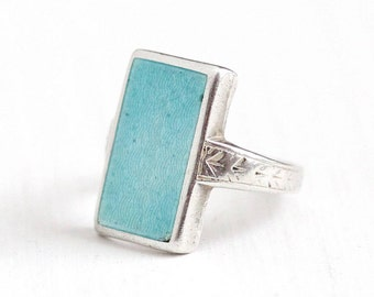Sale - Vintage Art Deco Sterling Silver Ostby & Barton Ring - 1920s Size 4 Light Blue Guilloche Enamel Wheat Rectangular Signed OB Jewelry