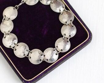 Sale - Vintage Silver Netherlands Dime Coin Bracelet - 1940s Dutch Foreign Currency Queen Wilhelmina Koningin Der Nederlanden Panel Jewelry