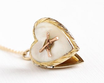 Vintage Rosy Yellow Gold Filled Crossed Rifles Heart Pendant Locket Necklace - 40s WWII White Mother of Pearl Gun Emblem Sweetheart Jewelry