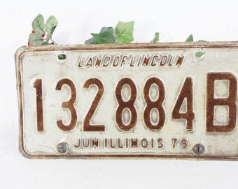 1979 Illinois License Plate, Vintage Car Tag, Land of Lincoln